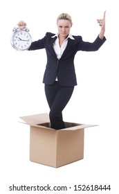 Woman with clock in the box
