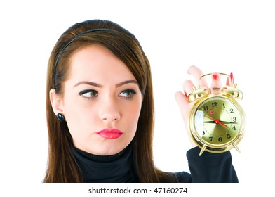 Woman with clock isolated on the white