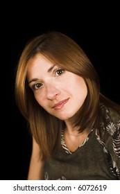 woman close up portrait shot on black backdrop