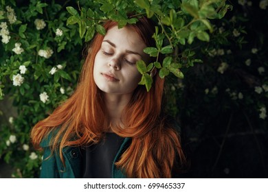 Woman with closed eyes, forest, dream, silence