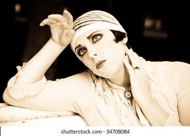 Woman Close-Up Portrait. Retrospective Review. 20-s  XX Century.
