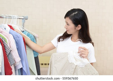 Woman with clothes