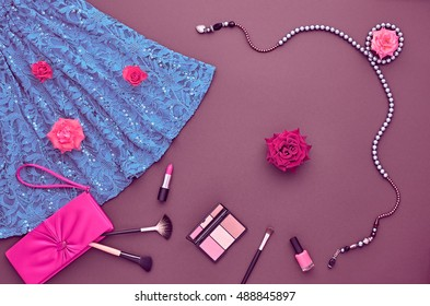Woman Clothes Accessories Set. Fashion Cosmetic Makeup. Stylish Dress, Glamor Handbag Clutch, Rose. Party Outfit. Creative Essentials.Minimal