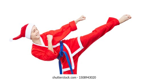 Woman in clothes Santa Claus beats a kick leg