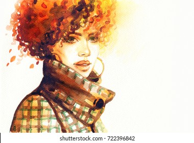 woman in coat. watercolor painting. fashion illustration