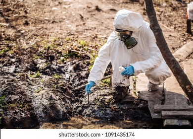 Woman collects soil in a test tube. soil analysis, environment, ecology concept.