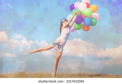 Woman with color balloon