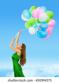 Woman Colored Balloons, Young Girl Flying in Blue Sky