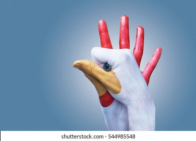 Woman colored hands as rooster figure on grey backround. For example to illustrate the year of the rooster.