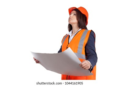 Woman in construction jacket and protective helmet. Serious civil engineer looking up. Checks constructed object according to design drawings. Isolated on white background
