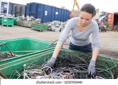 Woman at container of cables in salvage yard