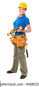 Woman Contractor Construction Worker on White