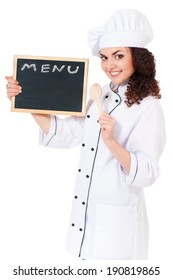 Woman cook in chef hat with menu blackboard and wooden spoon, isolated on white background.