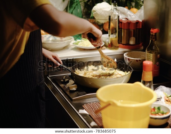 Woman Cooking Chinese Styled Cabbage Tiny Stock Photo Edit