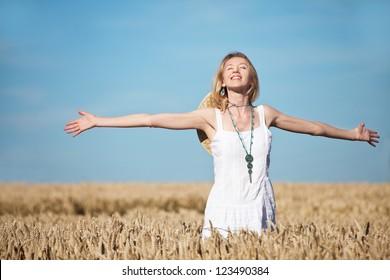 woman in cornfield