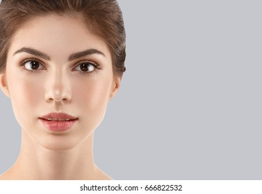 Woman cosmetic closeup beauty portrait, for salon beautiful people and healthy care skin and hair over color background