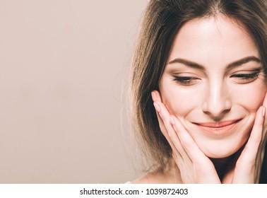 Woman cosmetic portrait, nice beautiful female girl portrait beauty brunette hair