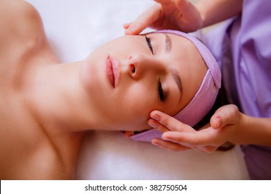 woman at the cosmetician. face massage