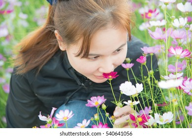 Woman and cosmos flowers in the flower garden