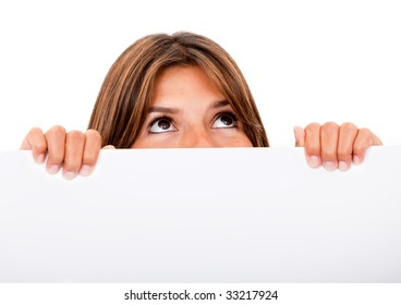 Woman covering her face with a banner ad and - isolated