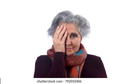 woman covering her face with white background