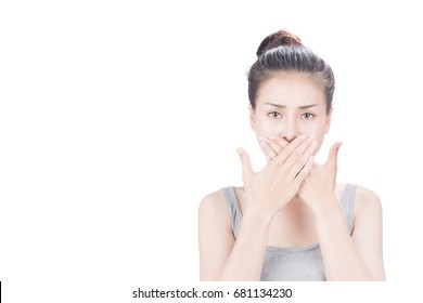 Woman covering mouth, on white isolated background.