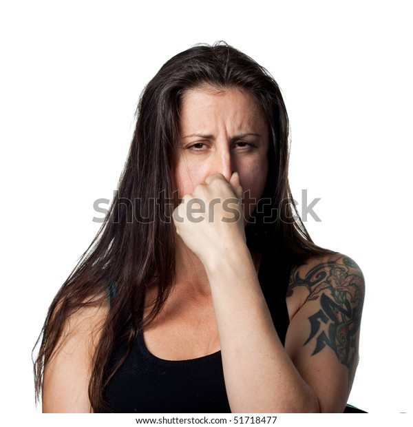 Woman Covers Her Nose Bad Smells Stock Photo (Edit Now) 51718477