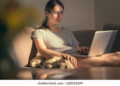 Woman in cozy home relaxing and using laptop stroking her dog.