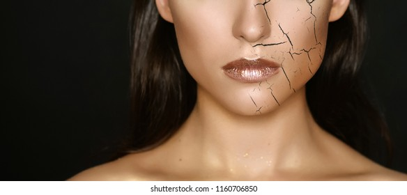 Woman with cracked on face as cosmetic and dehydration effect concept.