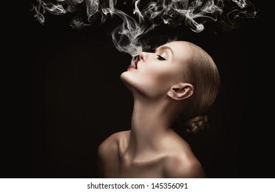 woman with creative smoke