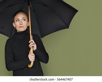 Woman Curious Awareness Umbrella Portrait Concept