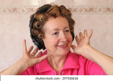 Fat granny in curlers