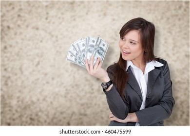 Woman and currency.