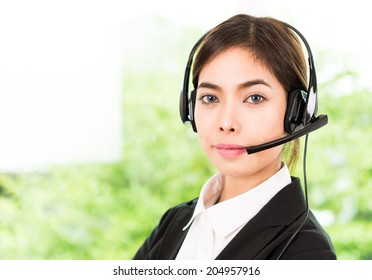 Woman customer call service
