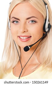 Woman customer service worker, call center operator with phone headset, isolated on white background