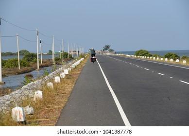 Woman cycling to Jaffna,Sri Lanka