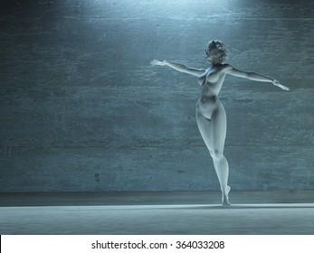 Woman in dance pose statue white