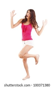 Woman dancer cheerful, happy and smiling with arms raised