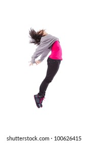 Woman dancer jumping isolated on white (some motion blur)