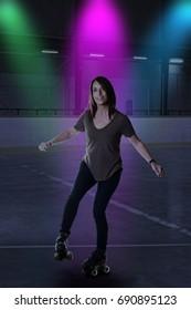woman dancing on roller skates