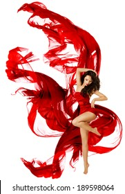 Woman Dancing Red Dress, Fashion Model Dance Flying Waving Fabric, white isolated