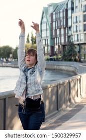 Woman dancing in the street