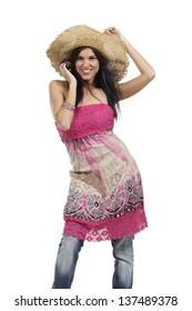 Woman dancing in summer dress