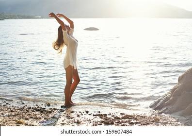 woman dancing in a sunlight