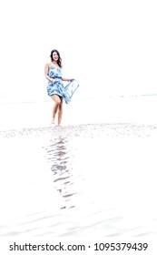 woman dancing in the water