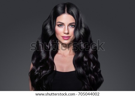 Woman Dark Brunette Black Hair Curly Stock Photo Edit Now