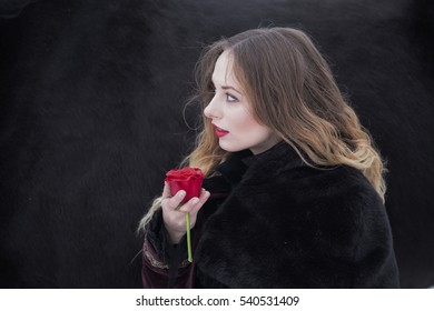 woman in a dark dress with a red rose in winter.