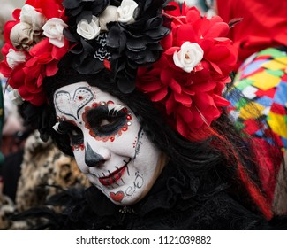 Woman in Day of the Dead make-up at Carnaval in Roermond, Netherlands
