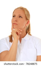 Woman deliberates a decision. All on white background.