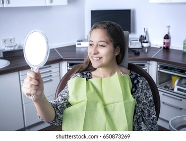 Woman at Dentist with mirror